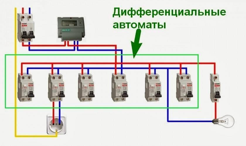 Схемы подключения дифавтомата
