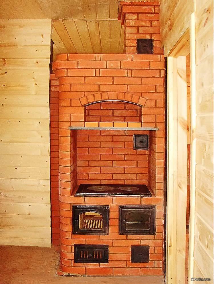Отопительно-варочная печь шведка с лежанкой и плитой без духовки: порядовка, чертеж, инструкция, фото