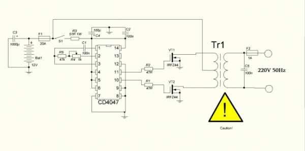 Схема простой мощный преобразователь напряжения 12 220 - отопление