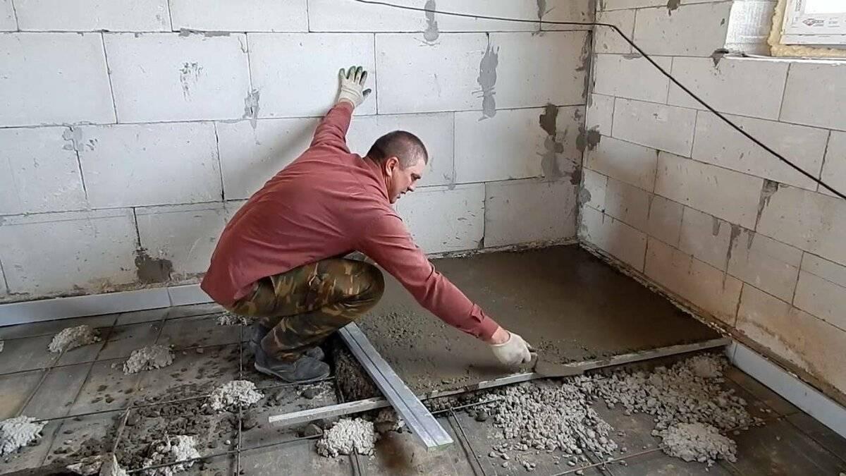 Стяжка пола своими руками по грунту в частном доме