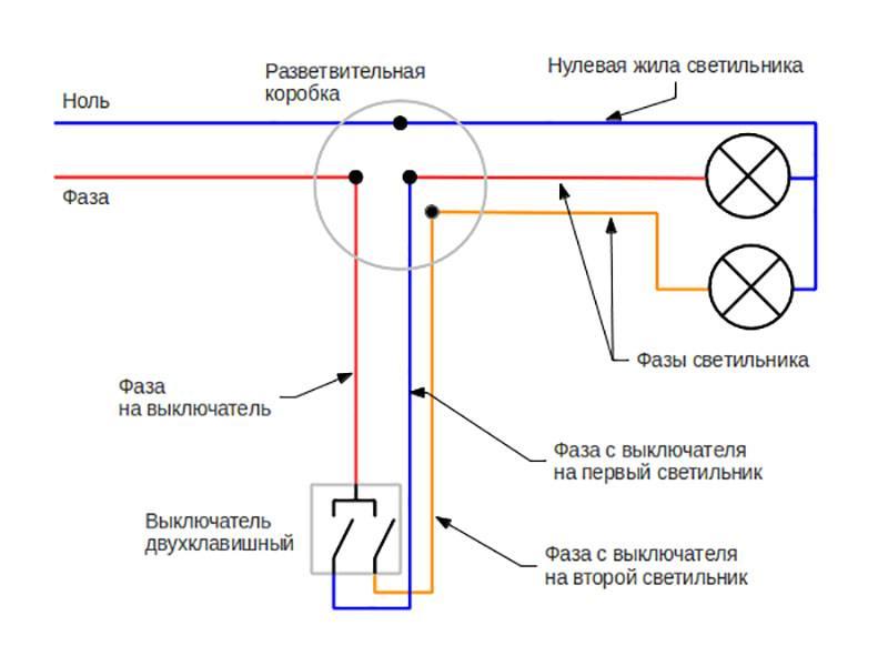 Подключение двухклавишного выключателя: схемы, советы, инструкция. схема подключения двухклавишного выключателя на две лампочки