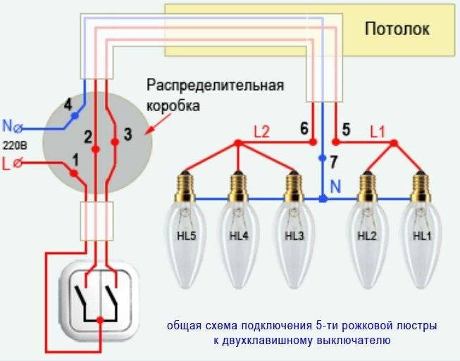 Подключение люстры к двойному выключателю: схема, особенности подключения трехрожковой люстры