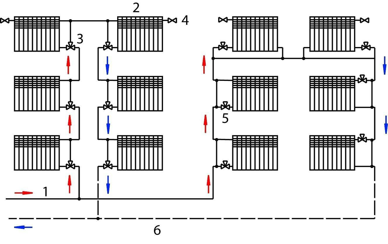 Схемы однотрубной системы отопления   грейпей