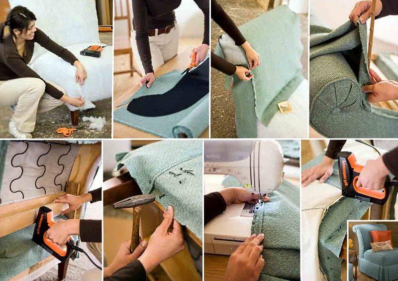 Как перетянуть диван своими руками пошагово: выбор инструментов и материалов