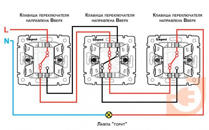 Схемы подключения проходных и перекрестных выключателей