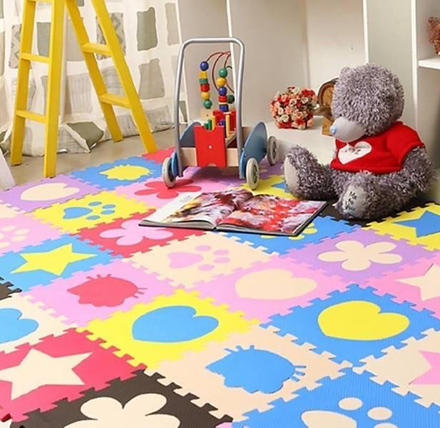 Мягкий детский пол 100*100 см. мягкие плитки-пазлы. коврики пазлы. пол в детскую комнату. пол для тренажерного зала. татами для борьбы.