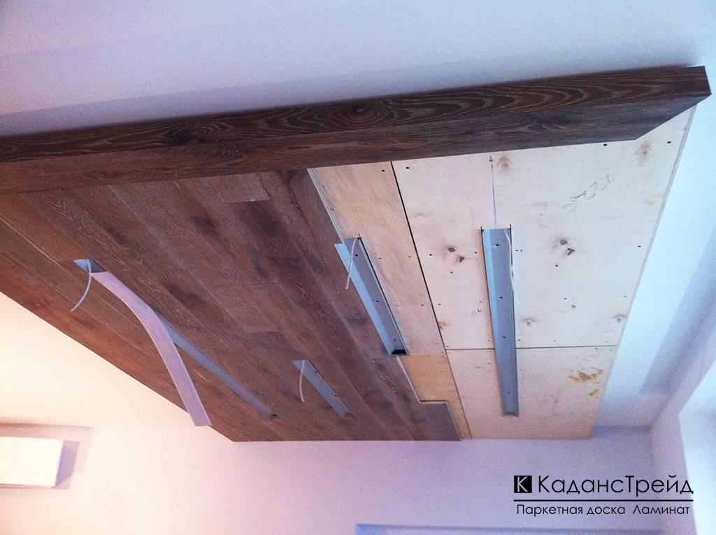 Ламинат на потолке с фото интерьеров