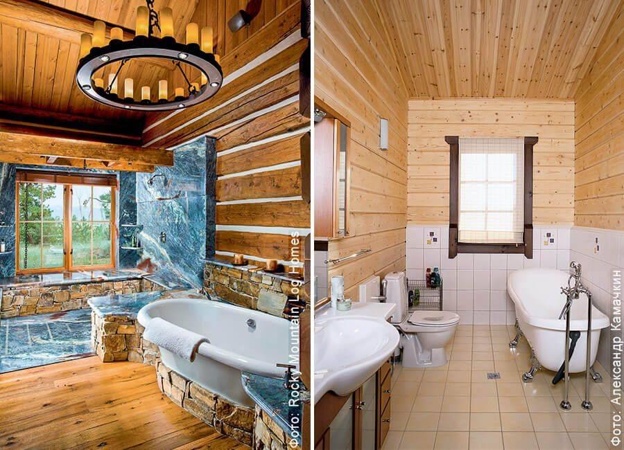 Ванная комната в деревянном доме: пол, стены, потолок + фото