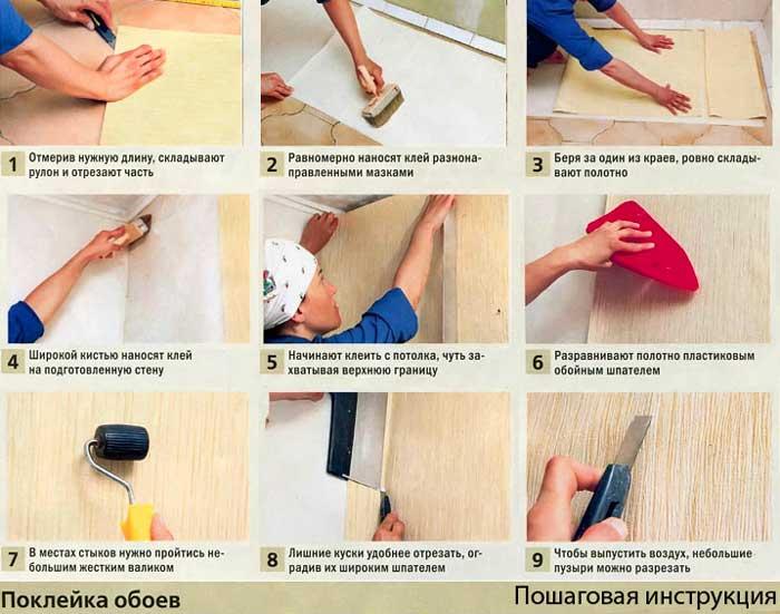Как клеить фотообои на стену правильно своими руками: подробная пошаговая инструкция, нюансы для  бумажных,  флизелиновых и на виниловой основе