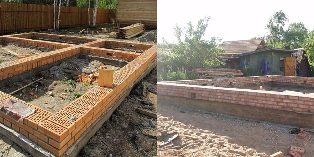 Кирпичный фундамент ленточного типа | строительство фундамента из кирпича своими руками