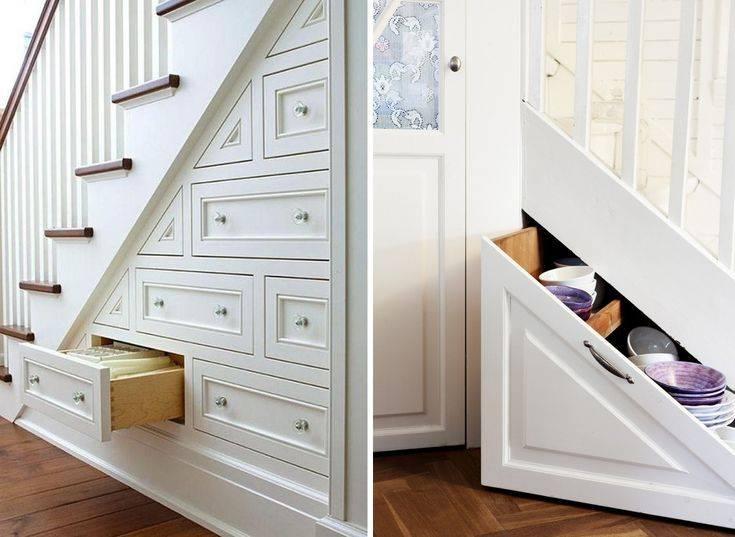 Красивые варианты размещения шкафов в доме под лестницей