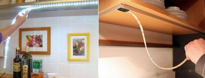 Подсветка под шкафы на кухне из светодиодной ленты: выбор элементов, схемы, монтаж своими руками