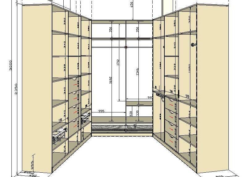 Гардеробная комната своими руками: чертежи, варианты планировки