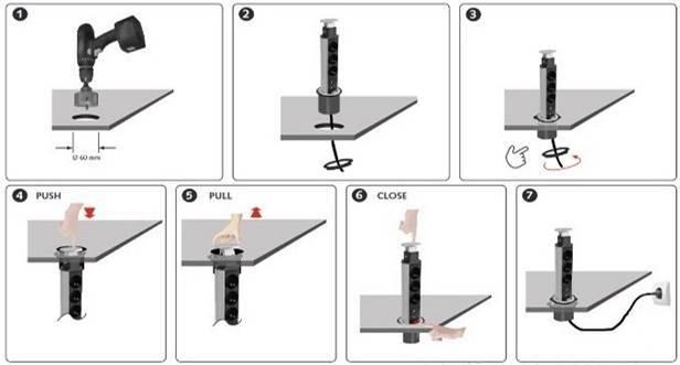 Выдвижные розетки, встраиваемые в столешницу: виды, характерные особенности, правила установки