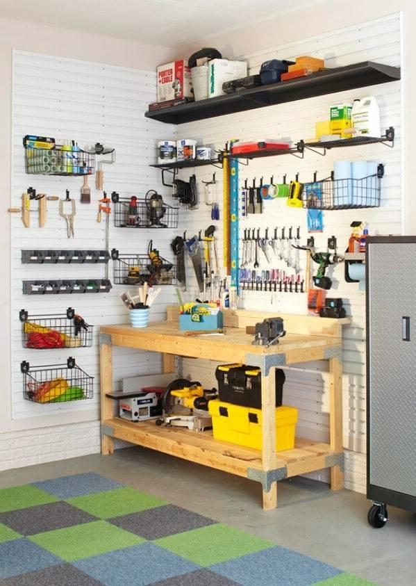 Гибкая система хранения инструмента в домашней мастерской. домашняя мастерская – оптимизация пространства и удобное хранение инструментов подставка для сверл и инструмента в гараже