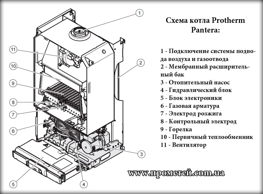Принцип работы двухконтурного газового котла протерм