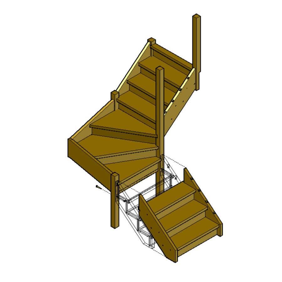 Как сделать забежные лестницы с поворотом под прямым углом
