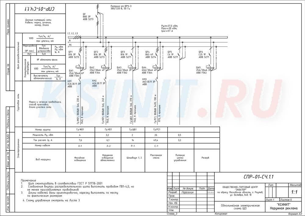 Однолинейная схема электроснабжения распределительного щита: как нарисовать по гост