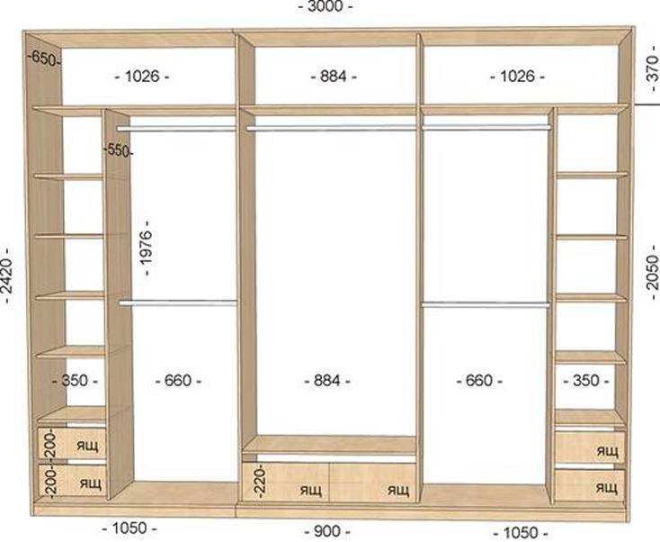 Шкаф купе 2 метра, параметры изделий и внутреннее наполнение