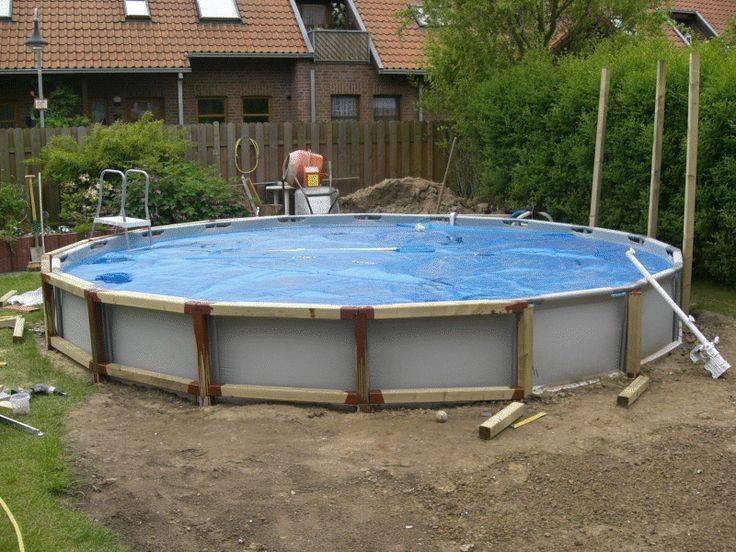 Установка каркасного бассейна на даче своими руками: на неровной поверхности, видео монтажа, схема сборки, на что лучше поставить