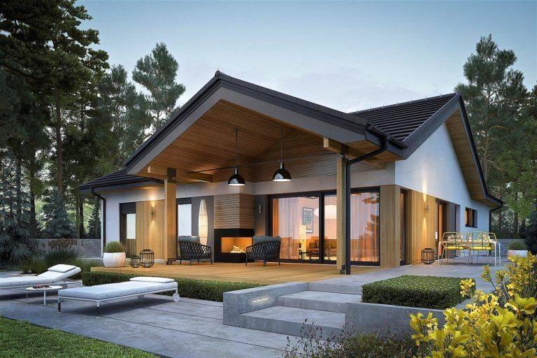 Красивые проекты одноэтажных домов в современном стиле  - 34 фото