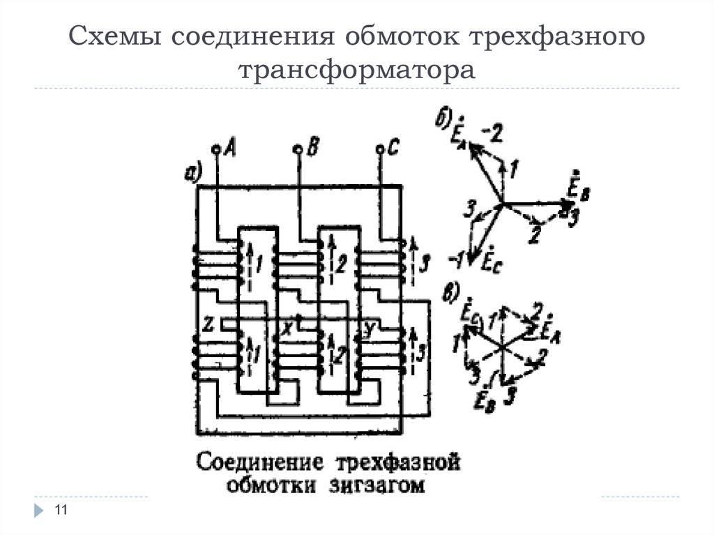 Устройство 3-трехфазного трансформатора, схема подключения, принцип работы