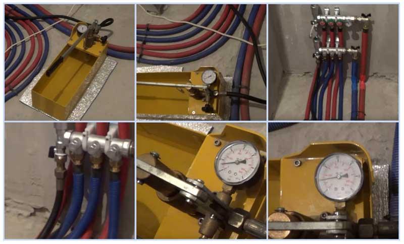 Опрессовка теплого пола: как опрессовать, заполнение воздухом, водой, теплоносителем, проверка водяного пола перед заливкой, давление в трубах