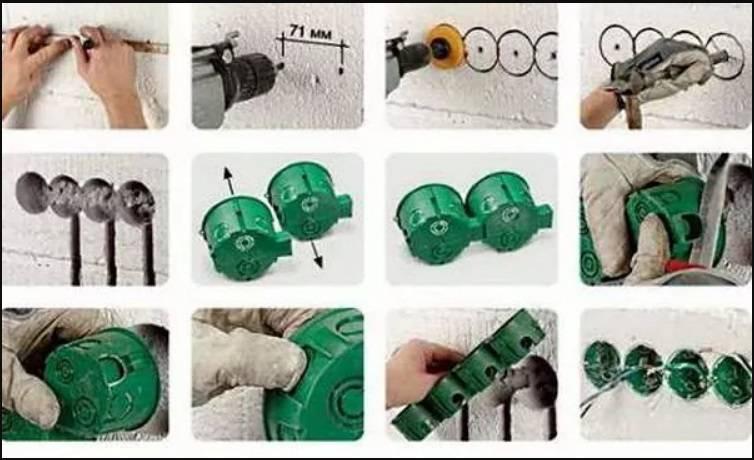 Как розетку на гипсокартон установить своими руками: как вырезать отверстие, закрепить коробку, что сделать, чтобы поставить наружный или двойной вид в виде блока?