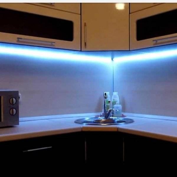 Светодиодная лента на кухне - подсветка и как ее установить