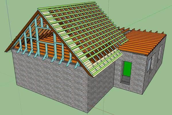 Как сделать крышу на пристройке к дому с односкатной и ломаной кровлей, как пристроить, дом с пристройкой под одной крышей, стропильная система, как соединить