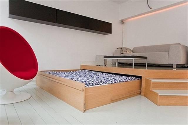 Кровать-подиум: фото, варианты механизмов и дизайна