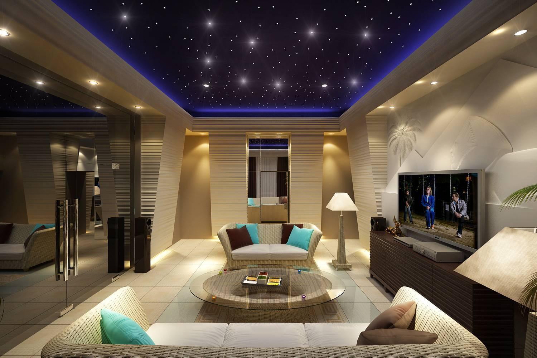 Натяжные потолки: освещение в разных комнатах квартиры (зал, гостиная, маленькая ванная), линейное, точечное, дополнительные светильники