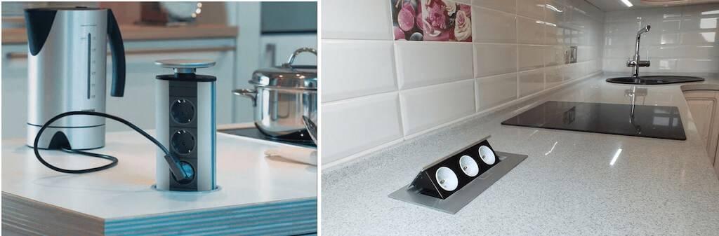 Розетки на кухне в столешнице: высота встраиваемых элекроточек и инструкция по монтажу