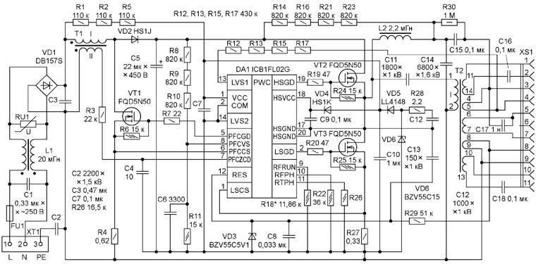 Светодиодный светильник на старом электронном балласте