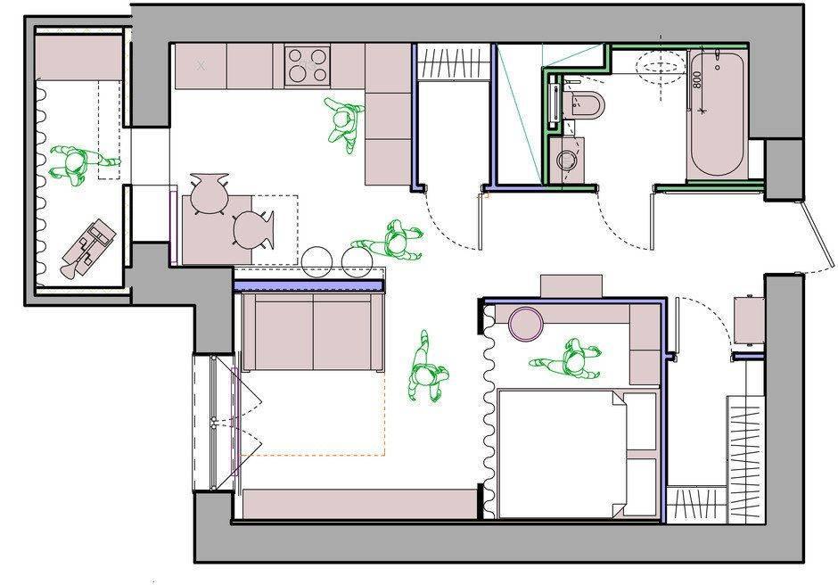 Особенности перепланировки студии в 1 или 2 комнатную квартиру
