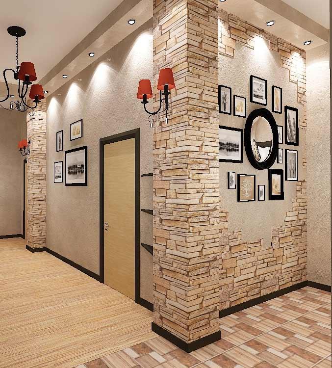 Лучшие идеи по отделке стен в квартире декоративным камнем и обоями