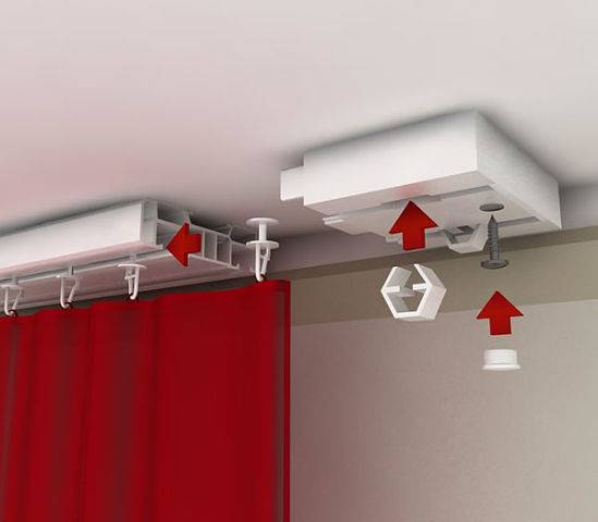 Как повесить потолочный карниз: как крепить к потолку, как прикрепить к стене, как прикрутить, закрепить, крепление шины для штор