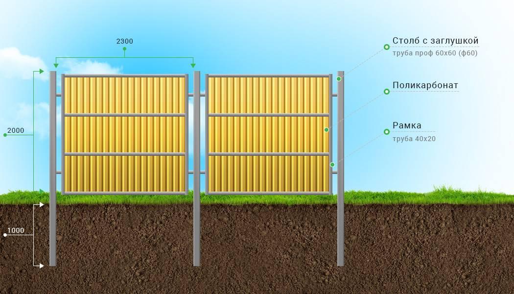 Забор из поликарбоната на металлическом каркасе своими руками