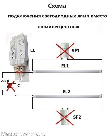 Как подключить светодиодные лампы вместо люминесцентных – инструкция по замене