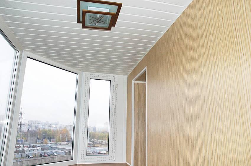 Обшивка потолка балкона пластиковыми панелями