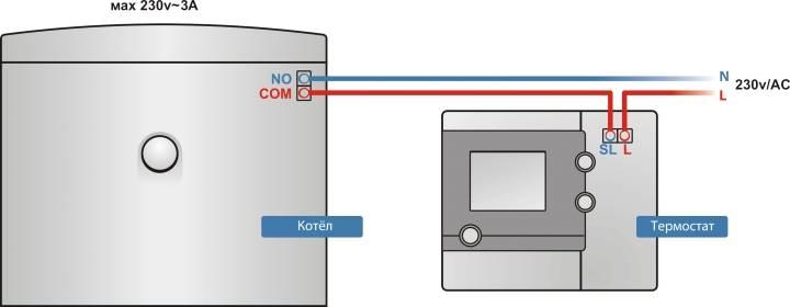 Схема подключения термостата к электрокотлу