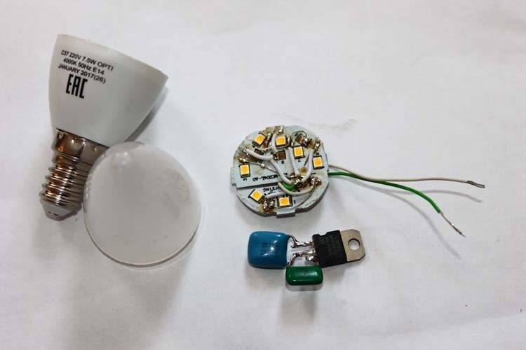 Ремонт светодиодных ламп: устройство и схема