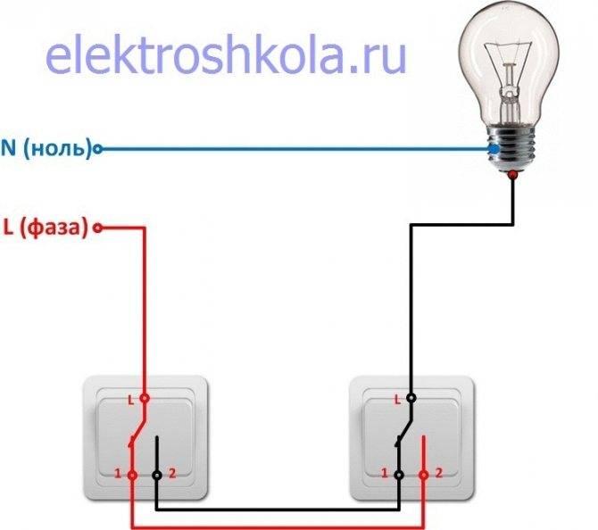 Управление освещением, импульсное реле и проходной выключатель