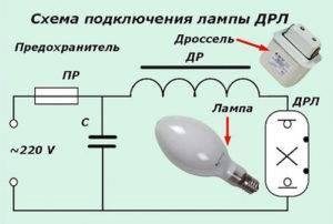 Как подключить лампу дрл: расшифровка, устройство и технические характеристики, схема подключения через дроссель и без него (фото и видео)