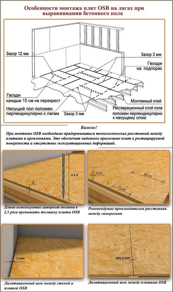 Укладка осб на деревянный пол: плиты, выравнивание основания, инструкция по монтажу, советы, обработка плит и их достоинства