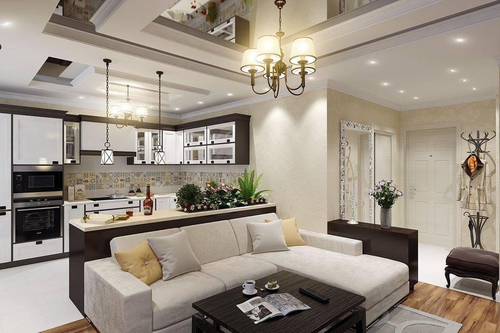 Планировка кухни-гостинной: зал совмещенный с кухней, г-образная столовая с двумя окнами, варианты расстановки мебели, ремонт в едином стиле