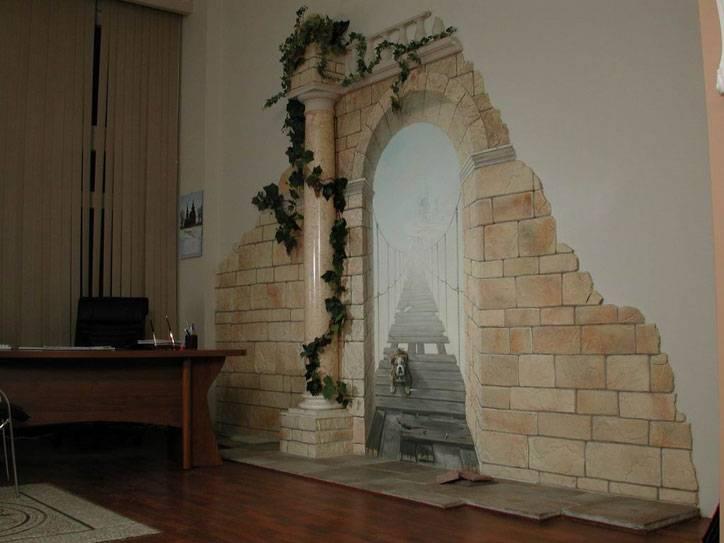 Искусственный декоративный камень в интерьере комнат в квартире
