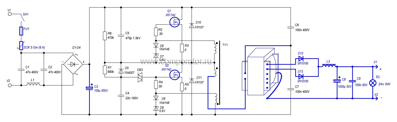 Переделка электронного трансформатора в блок питания