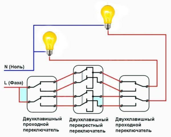 Схема подключения проходного выключателя с 2х мест, монтаж