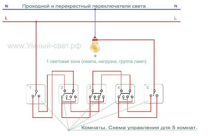 Схемы подключения проходных и перекрестных выключателей - tokzamer.ru